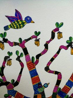 Elephant and Giraffe in a Baobab Tree - Gond Art