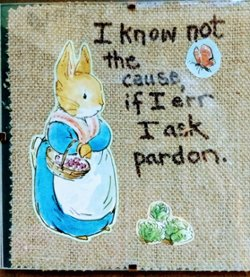 "6"" x 6"" Mother Rabbit apologizes"