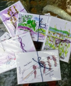Set of 15 watercolor postcards