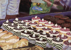 Cupini's Dessert Case Pastel Painting By Paula Winchester