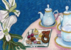 Tea at the Four Seasons Pastel Painting By Paula Winchester