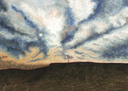 Prairie Windmill Pastel Painting By Paula Winchester