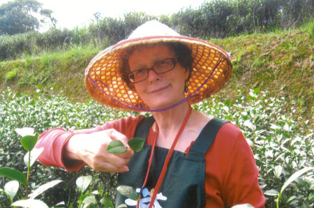 Me at the Wen Shan tea farm.  Red is good when you are surrounded by deep green.  Surely I won't be left behind!