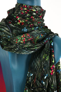 Chinese Mountainside Silk Charmeuse Scarf