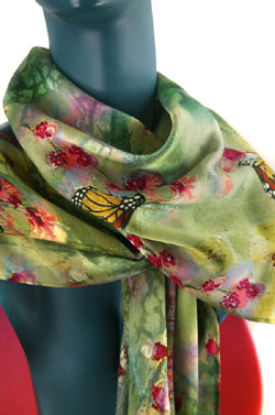 Ephemeral Beauties Silk Charmeuse Scarf