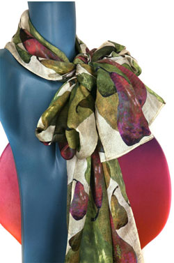 Pear Shower Silk Charmeuse Scarf