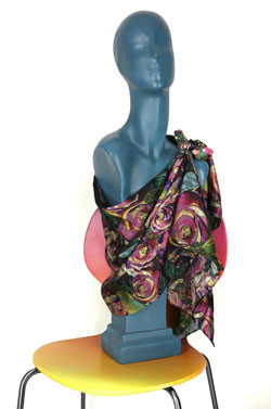 Purple Kohlrabi Silk Charmeuse Scarf