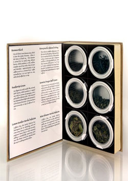 Book-like Tea Menu with 6 Windowed Tins