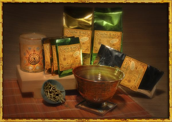 Collage of Twelve Winds Teas Company Products